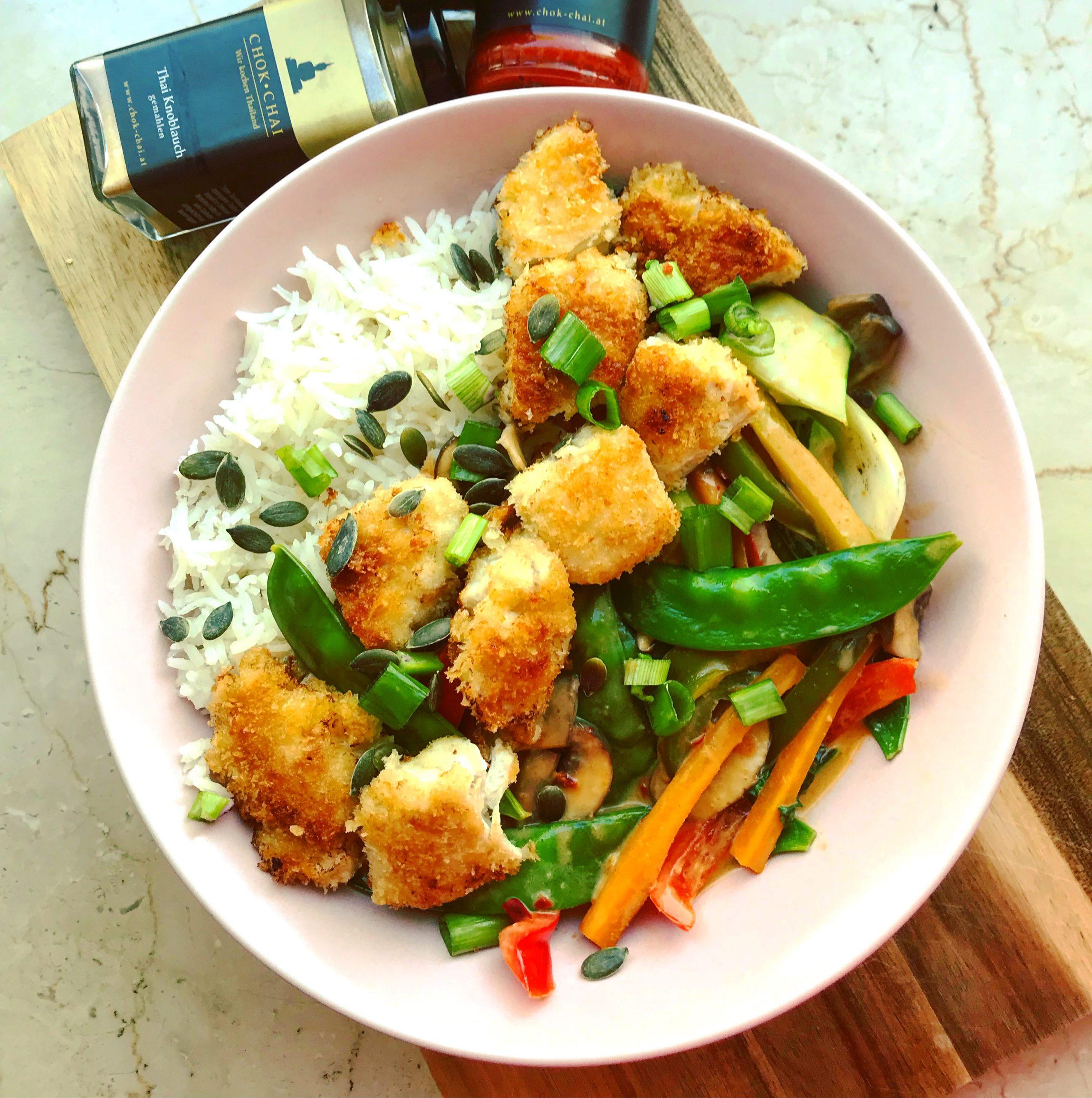 Red Thai Curry mit Panko-Chicken