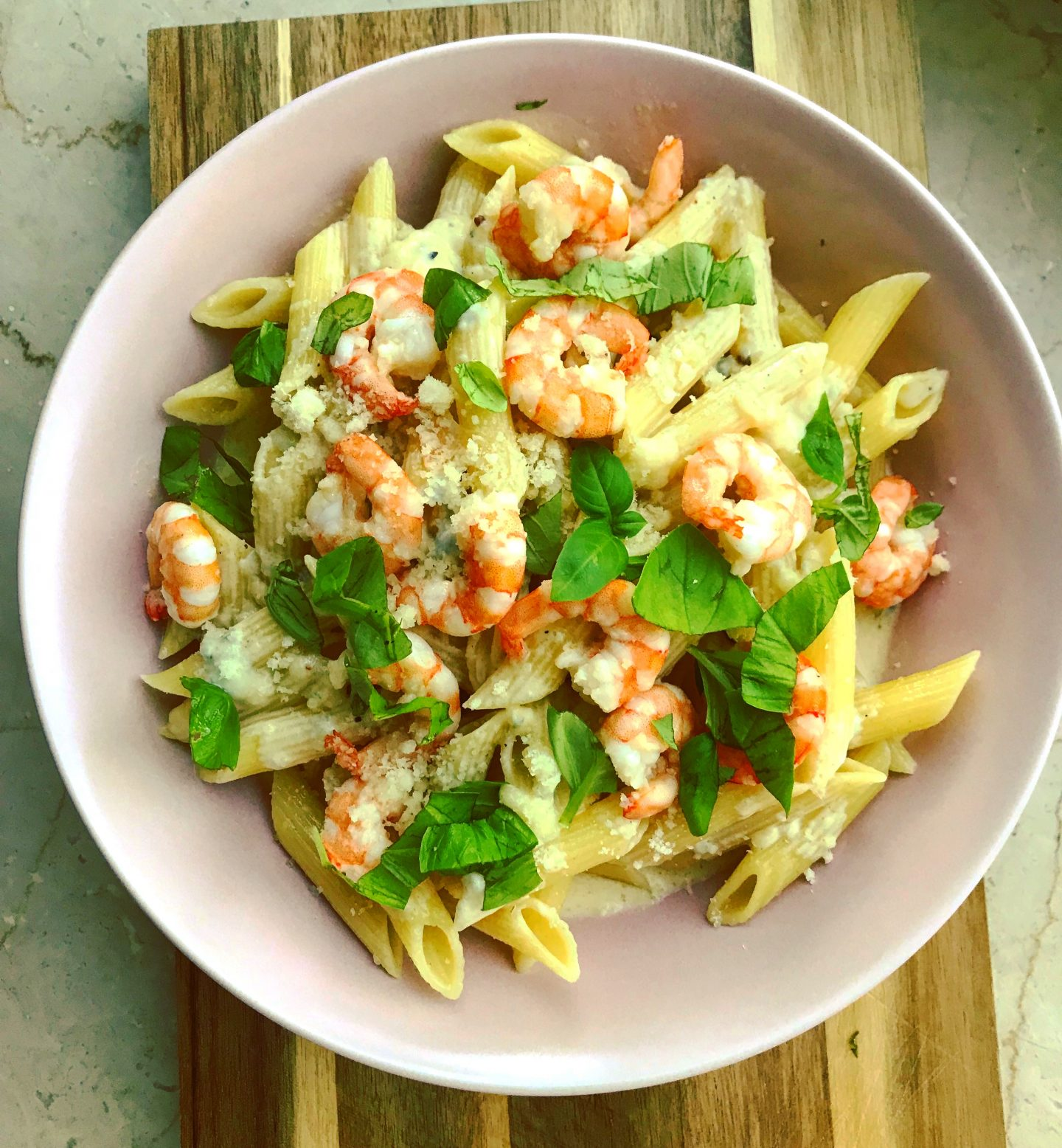 Pasta 4-Formaggi mit Garnelen