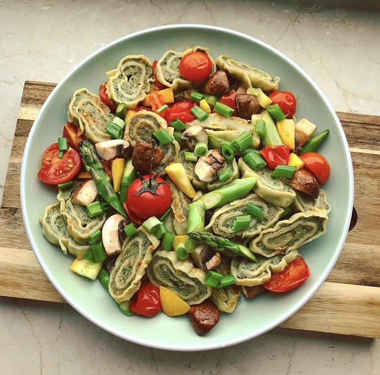 herbstliche Maultaschenpfanne mit Gemüse