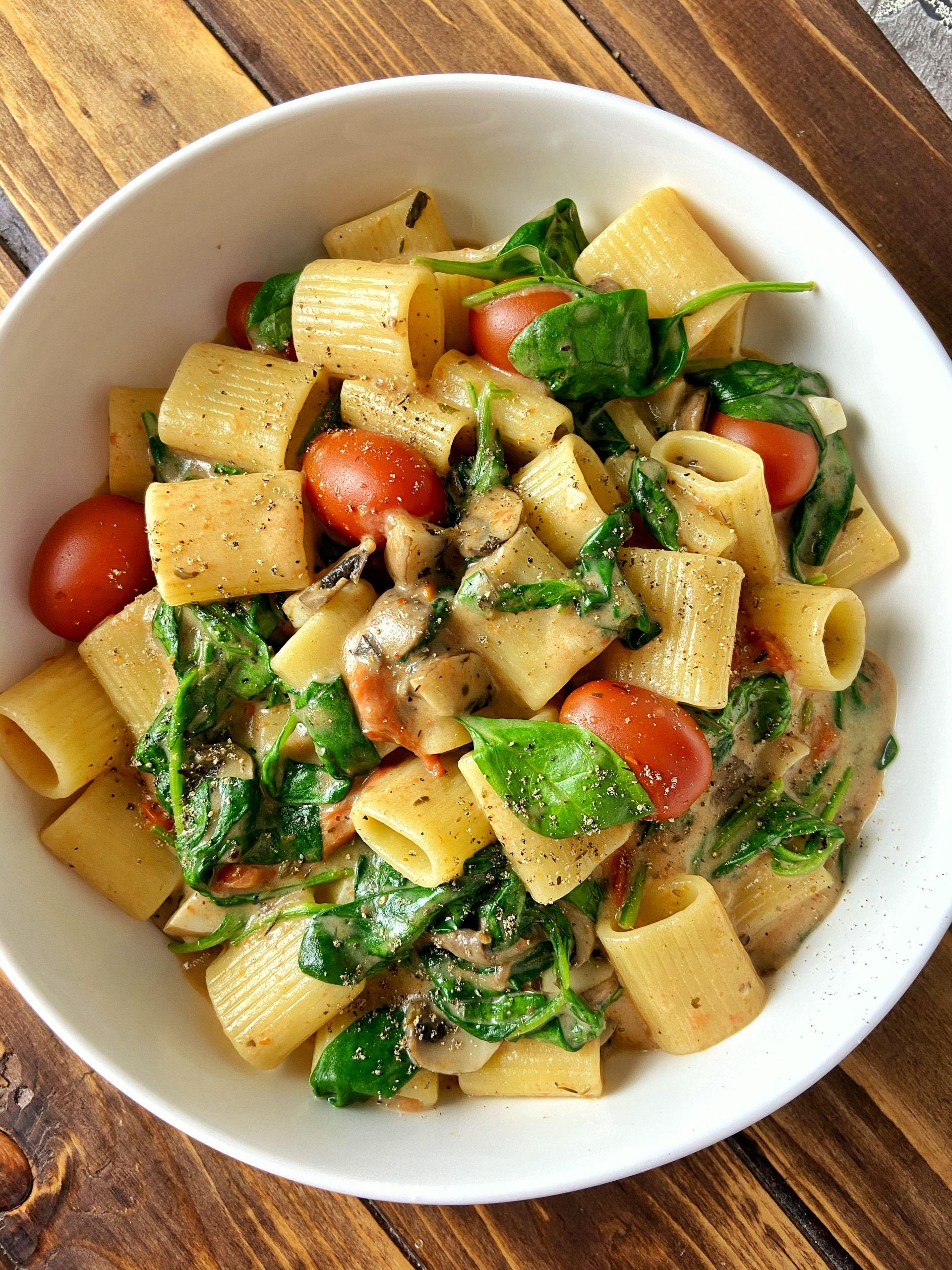 One Pot Pasta Spinaci e funghi